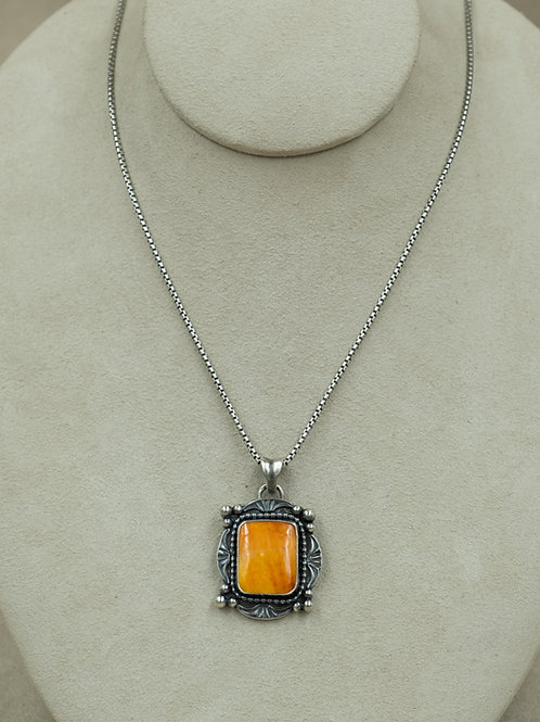Sterling Silver w/ Spiny Oyster Shell & SS Chain by Michele McMillan