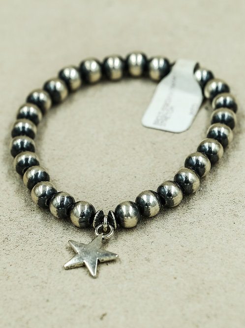 Sterling Silver Oxidized 7mm Star Bracelet by Shoofly 505
