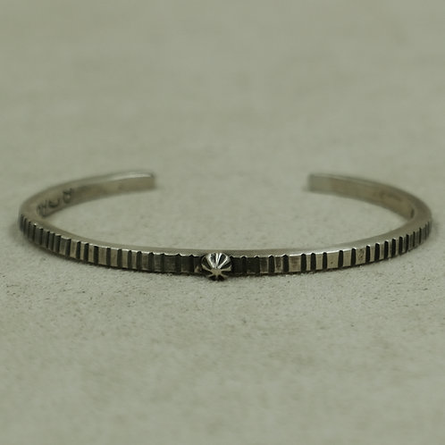 Sterling Silver Coin Edge Stacker Cuff w/SS Bead by Jacqueline Gala
