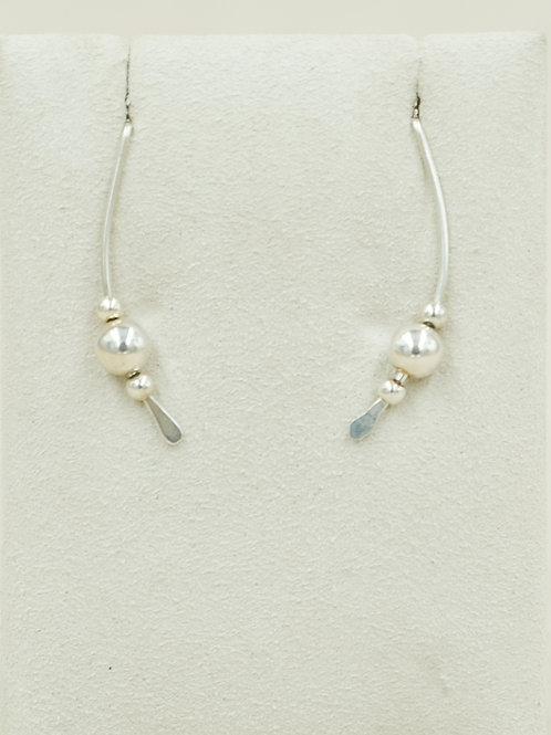 Sterling Silver 3 Beads Criss Cross Earrings by Robert Mac Eustace Jones