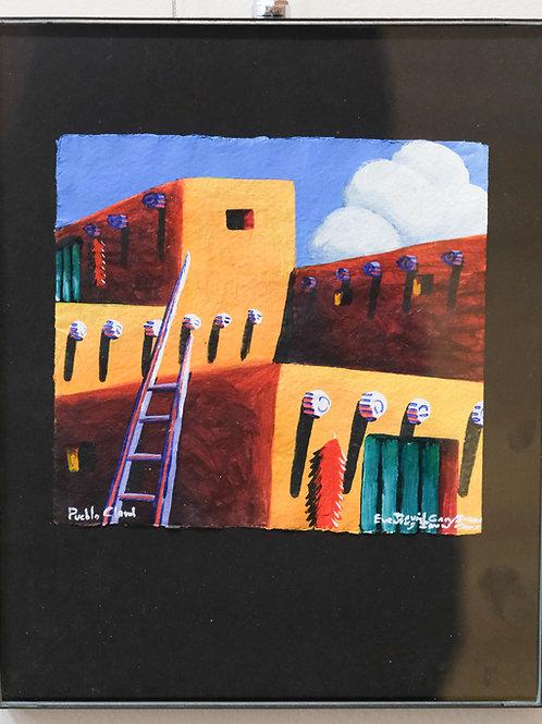 """Pueblo Cloud"" Framed Acrylic on Handmade Paper by David Gary Suazo"