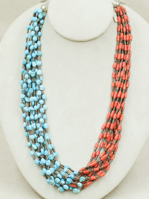 SS 9 Strand w/ Turquoise, Coral, & Olive Shell Necklace by Naomi Ca'Win