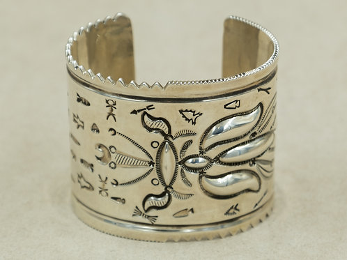 Sterling Silver Repousse Wide Cuff