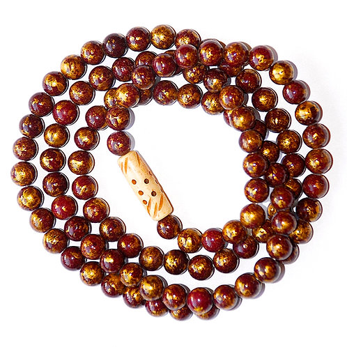 Sangria Gold-dust Opaque Smooth 8mm Jade Mala