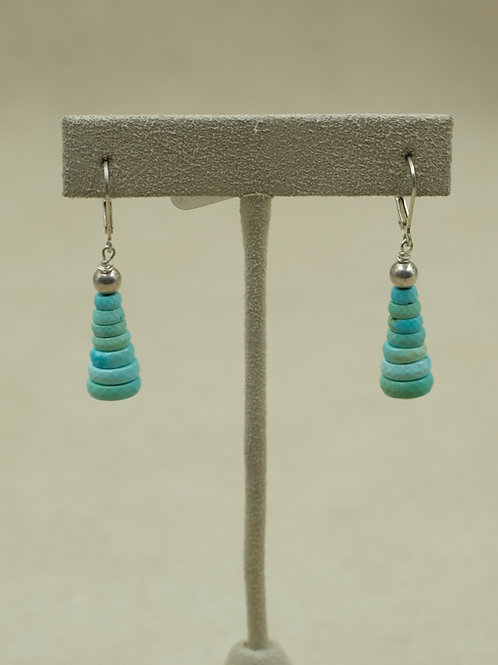 SS w/ Stacked Faceted Sleeping Beauty Turquoise Earrings by Maggie Moser