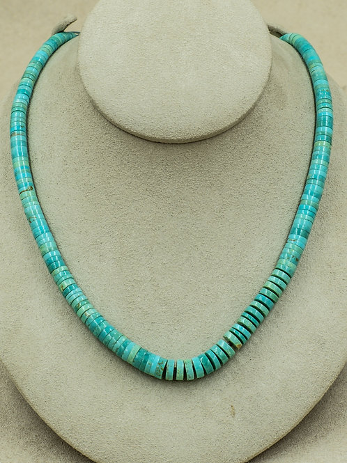 SS w/ Kingman Turquoise, and Olive Shell Spacers Necklace by Kenneth Aguilar