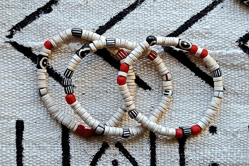 Set of Three Polished White Clay Bracelets with Red and Black Indonesian Glass