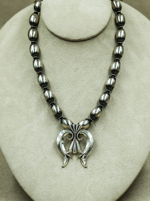 Sterling Silver Oval Bead w/ Naja Necklace by Shoofly 505