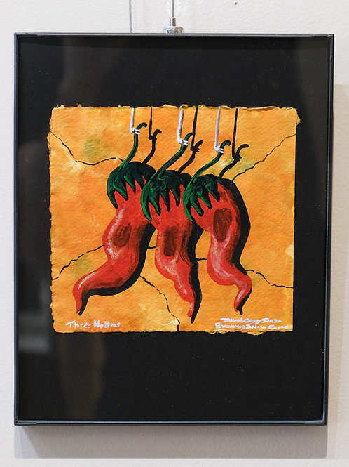 """""""Three Hotties"""" Framed Acrylic on Handmade Paper by David Gary Suazo"""