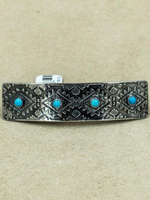 Sterling Silver w/ Blue Bird Turquoise Barette by Michele McMillan