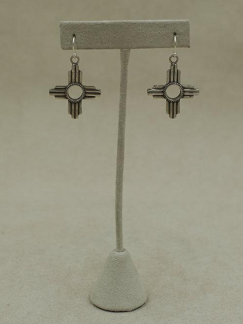Sterling Silver Hollow Zia Earrings by Gregory Segura