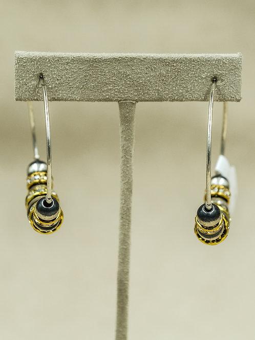 Sterling Silver Oxidized w/ Cubic Zirconia Hoop Earrings by Shoofly 505