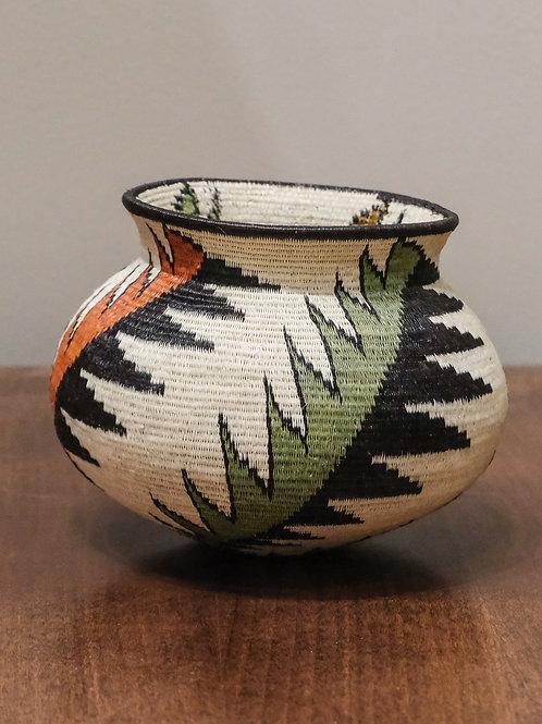 Green & Orange Feathers Wounaan Basket