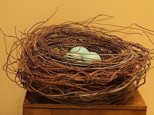 Large Handmade Metal Nest w/ 3 Aqua Eggs by Phil Lichtenhan
