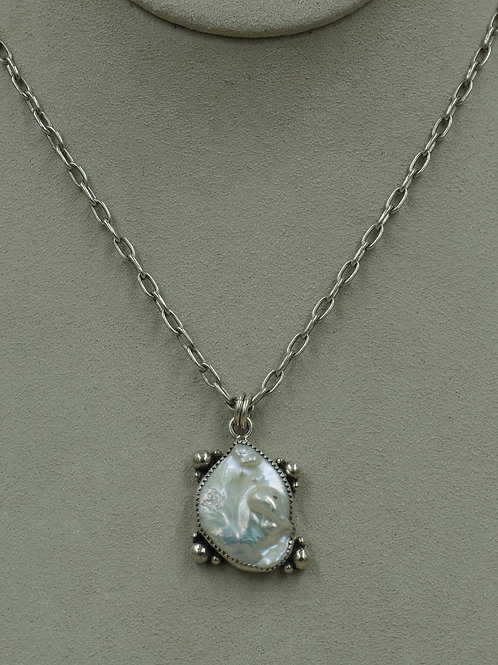Blister Pearl Sterling Silver Shot on SS Chain by Jacqueline Gala