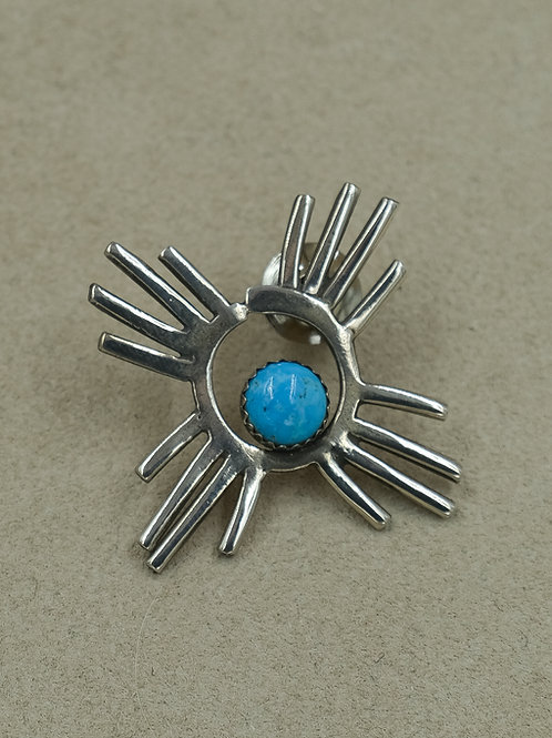 Sterling Silver Petroglyph w/ Turquoise Pin by Gregory Segura