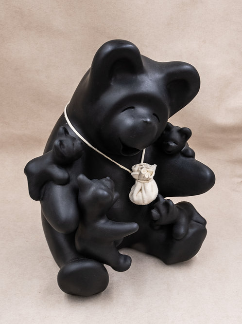 Large Black Bear Storyteller with Four Babies by Randy Chitto