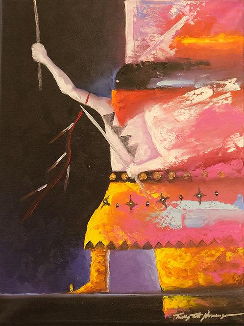 """A Dance of Healing"" Oil on Canvas - 16"" x 12"" - Tim Nevaquaya"