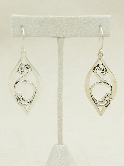 Sterling Silver Oblong Wave Earrings by Roulette 18