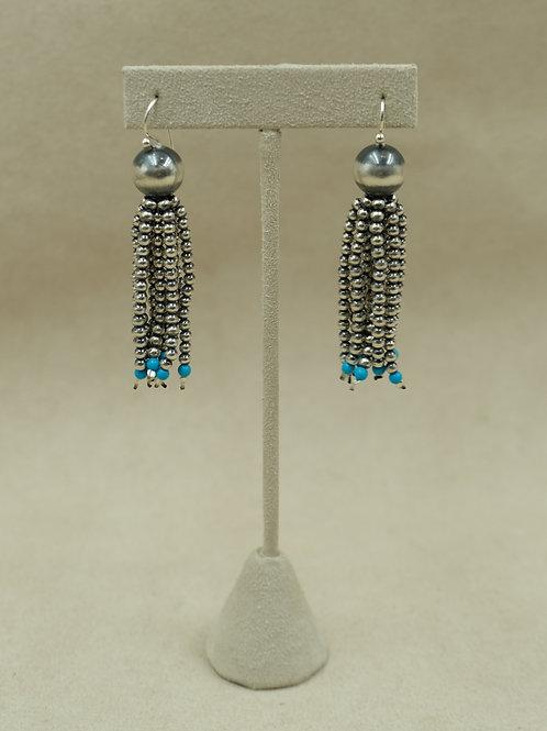 Sterling Silver Oxidized Tassel Beads w/ Turquoise Earrings by Shoofly 505