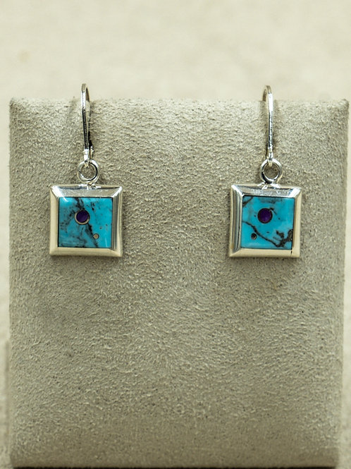 SS Small Squares w/ Coral & Turquoise Earrings by Veronica Benally