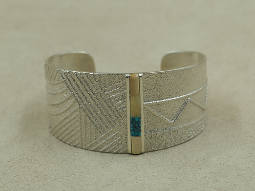 Sterling Silver Tufa Cast w/ Turquoise, & Walrus Fossil by Monty Claw