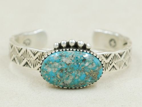 Sterling Silver w/ Natural Morenci Turquoise Stamped Cuff by Cheryl Arviso