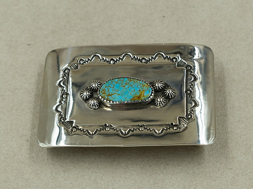 Sterling Silver w/ Pilot Mountain Turquoise Buckle by John Rippel