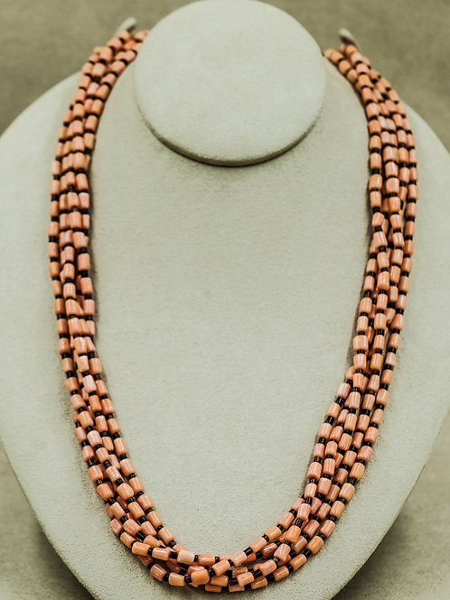 5 Strand Angel Skin Coral w/ Olive Shell Heishi Necklace