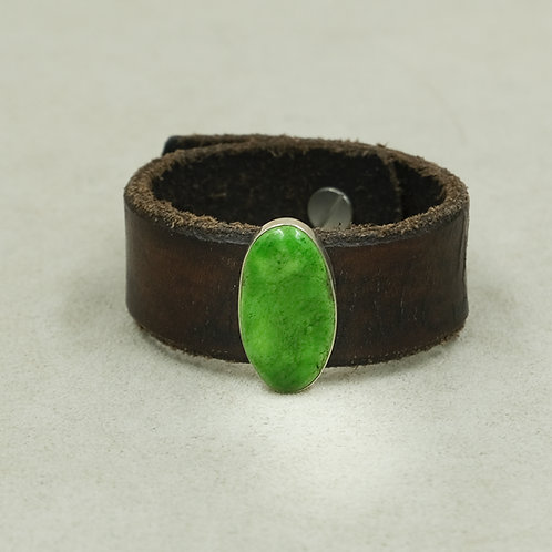 Leather Cuff with Stab Grasshopper Turquoise by Peyote Bird