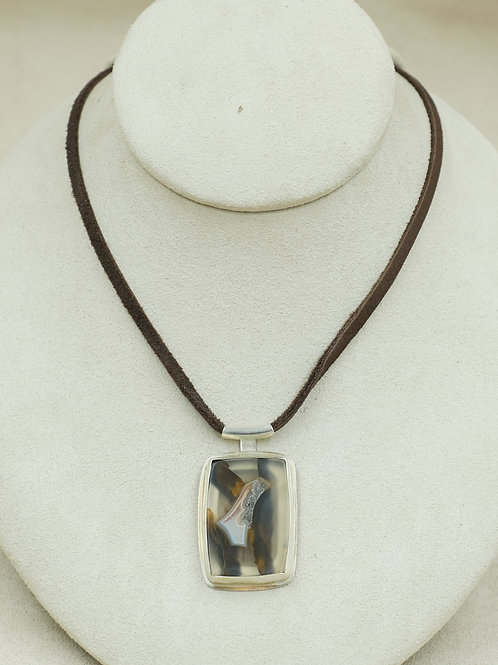 Sterling Silver Agate on Suede Pendent by Joe Glover