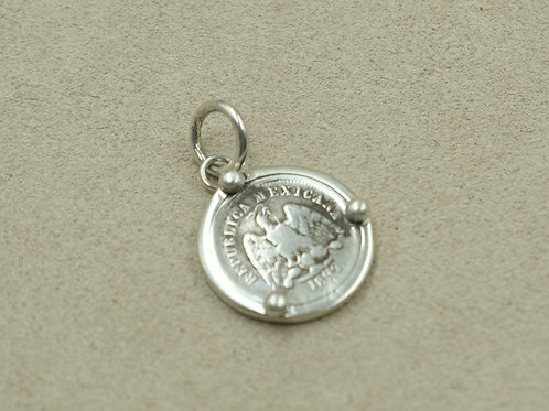SS Mexican Coin w/ Shot and Bezel Pendant by Maggie Moser