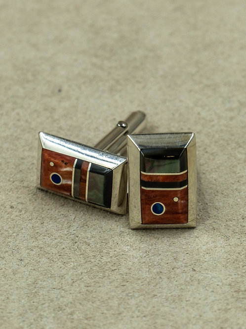 Sterling Silver w/ Lapis, Onyx, & Mother of Pearl Cufflinks by Veronica Benally