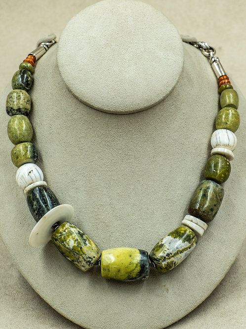 SS w/ Peruvian Serpentine, and Spiny Oyster Shell Necklace by Melanie DeLuca