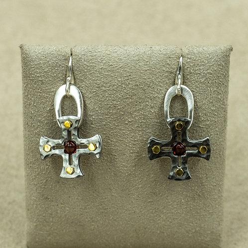 Stainless Steel Maltese Cross w/ Almandini Garnet Bullet Earrings by Reba Engel