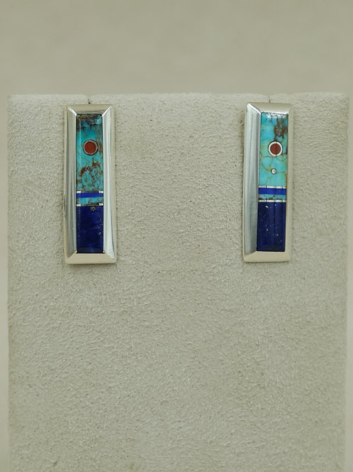 SS Rectangle Turquoise, Coral & Lapis Post Earrings by Veronica Benally