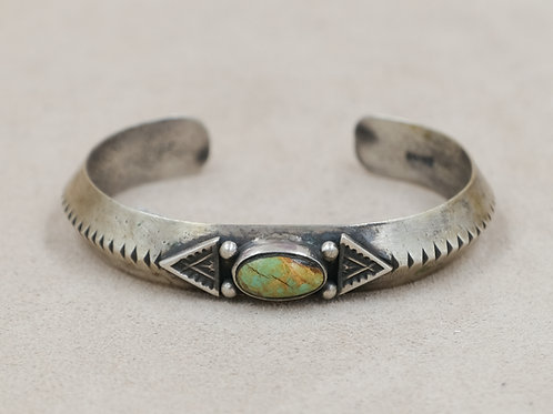 SS Ingot Arrowhead Design w/ Oval Green Turquoise Cuff by Mike French