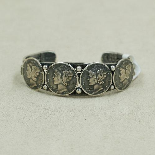 Mercury Silver Dime Cuff w/4 Coins by Peyote Bird