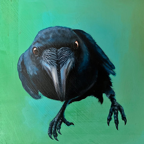 """""""Raven Pose II"""" Giclee on Canvas - 10"""" x 10"""" by Karen Clarkson"""