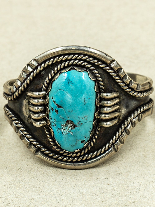 Vintage 60's/70's w/ Natural Large Blue Turquoise Stone Cuff