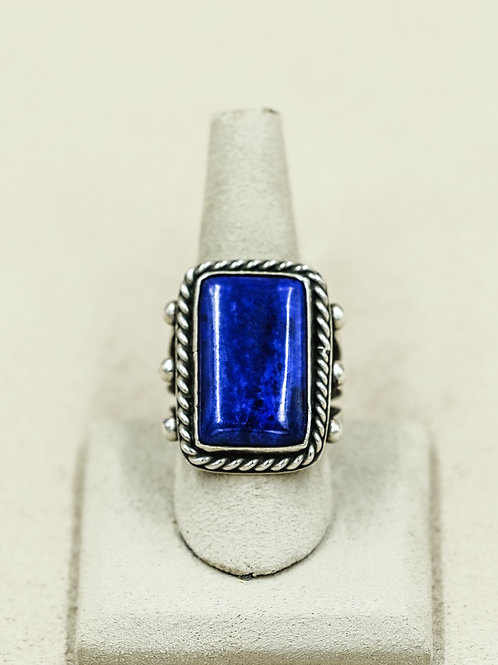 High Grade Sterling Silver with Large Stone Lapis 10x Ring