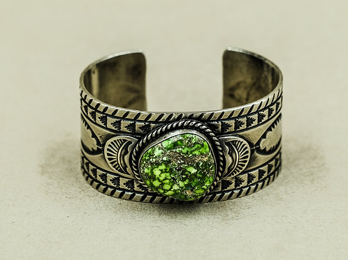 Stamped Sterling Silver w/ Natural Carico Turquoise Cuff  by Ray Bennet