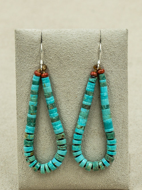 Sterling Silver w/ Nevada Green Turquoise & Coral Earrings by Kenneth Aguilar