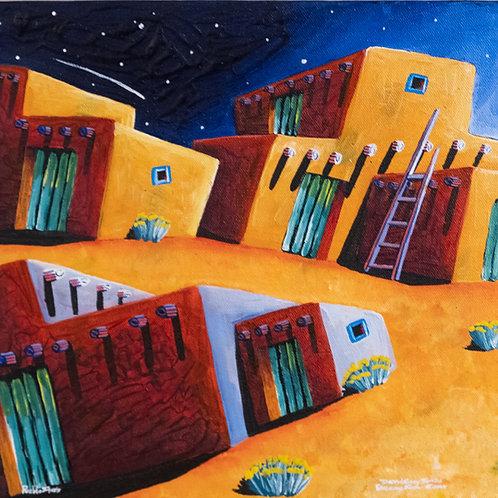 """Pueblo Stars"" - Acrylic on Canvas - 12"" x 12"" by David Gary Suazo"