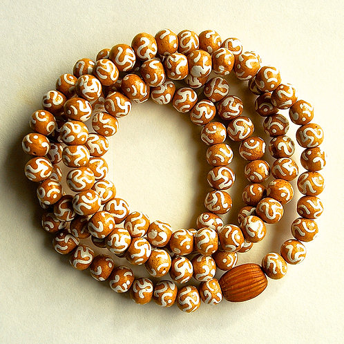 Natural Polished Wood Painted White OM Beads Mala