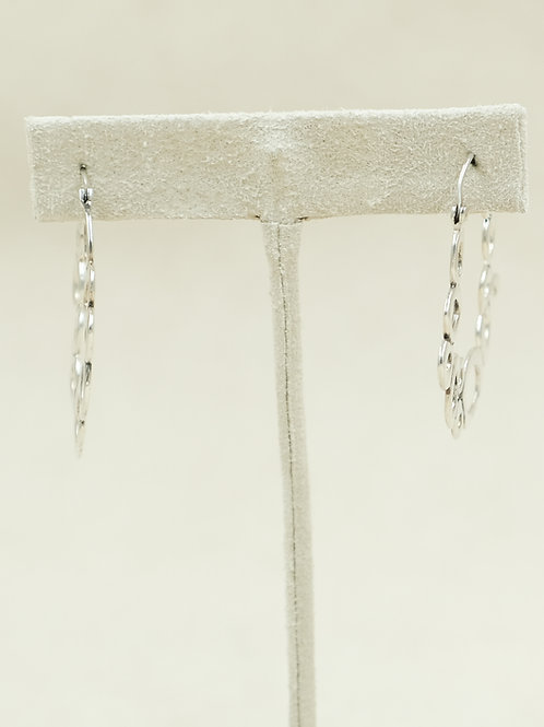 Sterling Silver Hoop Organic Circle Earrings by Roulette 18