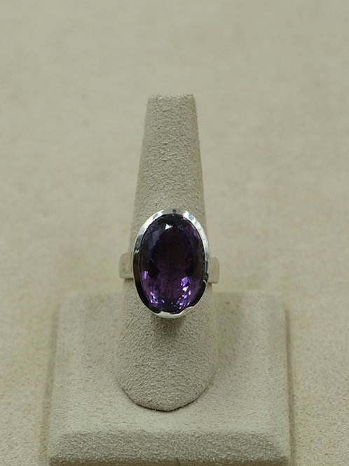 Sterling Silver Amethyst Oval Faceted 8x Ring by Sanchi and Filia