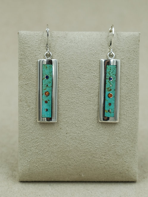 Long Low Dome Turquoise, Lapis, Spiny Oyster, Coral Earrings by Veronica Benally