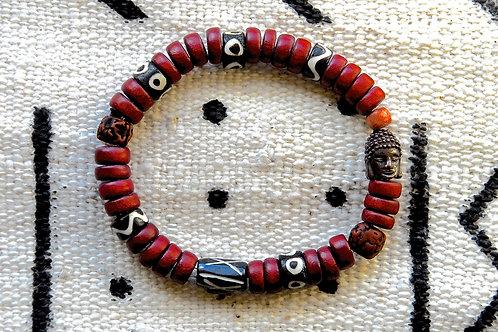Cherry Red Wooden Beads Bracelet