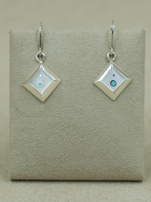 SS Diamond-Shaped White Mother of Pearl & Turquoise Earrings by Veronica Benally